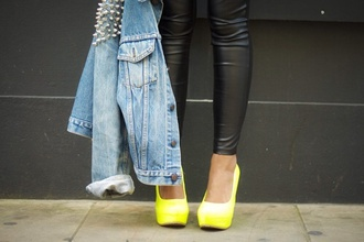 shoes yellow neon high heels studs denim jacket leather wow sexy skinny jeans black jacket pants