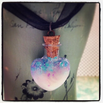 jewels heart necklace heart jewelry pastel pastel goth pastel pink bottle bottle necklace blue