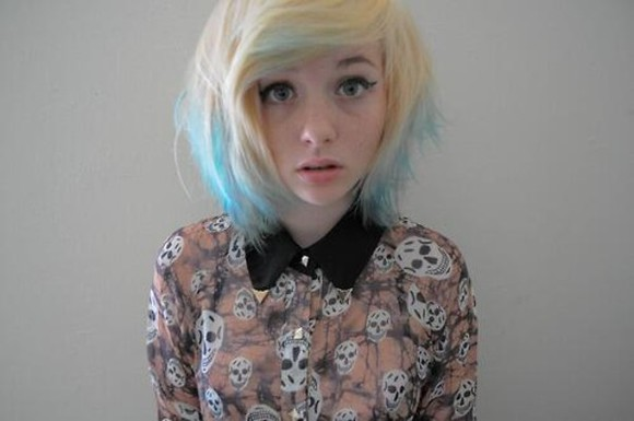 orange white black clothe blouse skull blonde bluehair prettygirl
