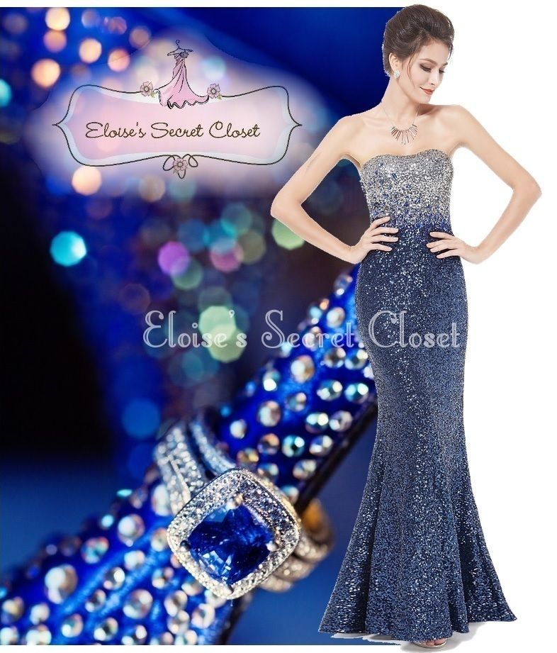 STARR Navy Blue Silver Sequin Embellished Evening Ballgown Prom Dress UK 8 - 18