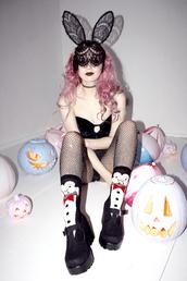 kayla hadlington,blogger,socks,mask,sexy halloween accessory,sexy halloween costume,pink hair,bunny ears,bunny,penguin,tights