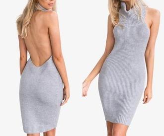 dress girl girly girly wishlist grey grey dress knit bodycon dress backless backless dress sexy turtleneck turtleneck dress