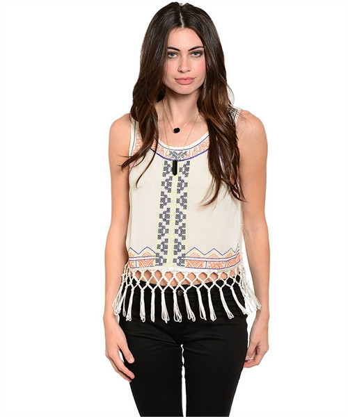 Tribal fringed crop top
