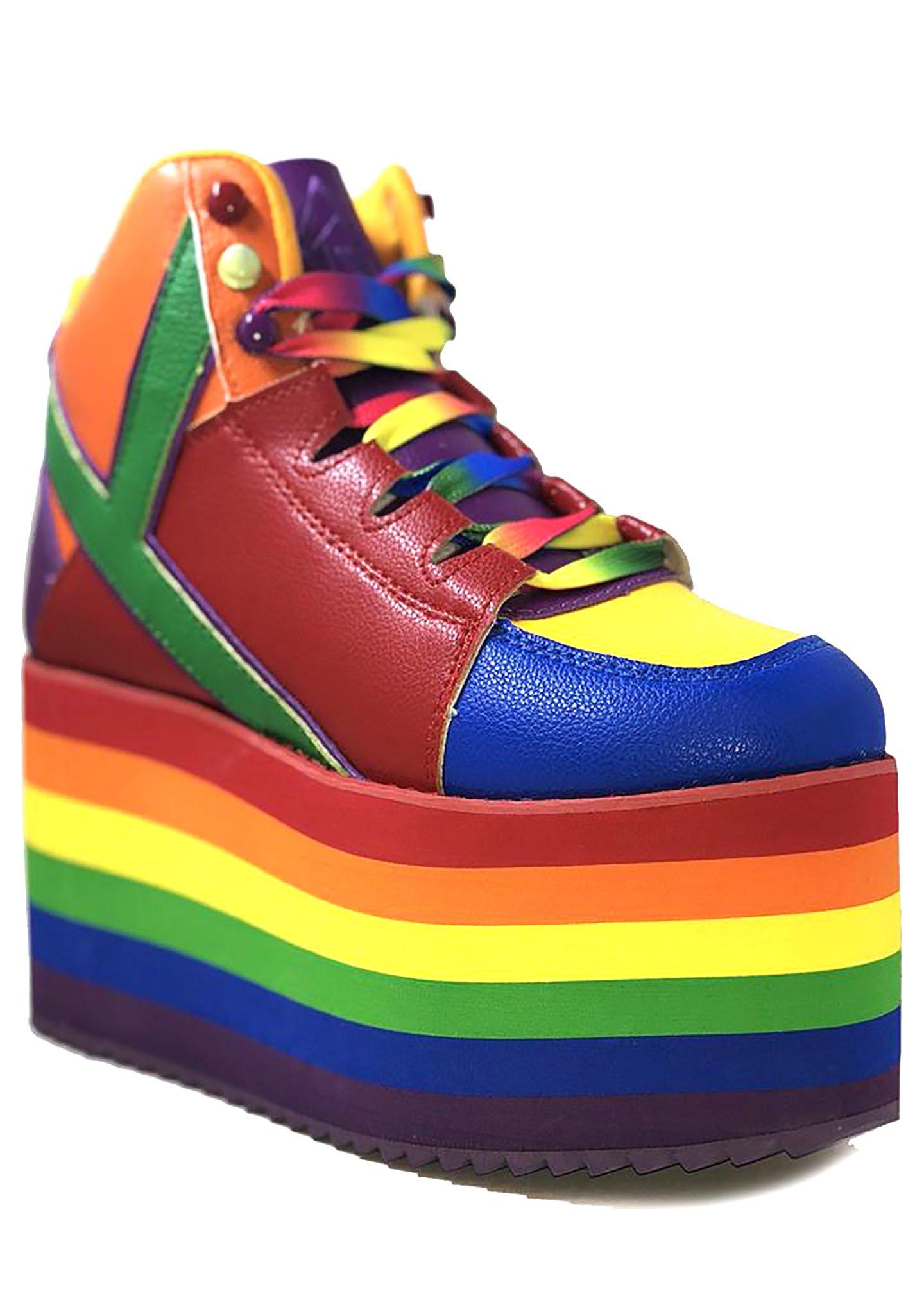 Qozmo Hi Rainbow Pride Platform Sneakers