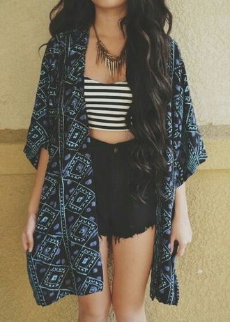 jacket aztec blue and black stripes highshorts shorts blouse love is in the air cardigan kimono boho top denim shorts jewels