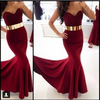 belt gold belt red dress mermaid dress