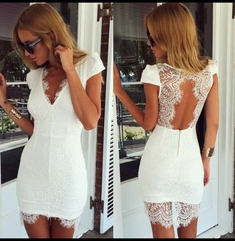 dress white dress white t-shirt white top white lace dress lace dress backless dress white dentelle white bodycon bodycon dress mini dress lace white lace short dress short sleeve short sleeve dress white backless dress summer dress