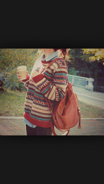 sweater multicolor pattern patterned sweater tumblr sweater winter sweater fall sweater bag