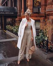 jumpsuit,saint laurent,bag,white coat,pointed toe pumps,silver jewelry