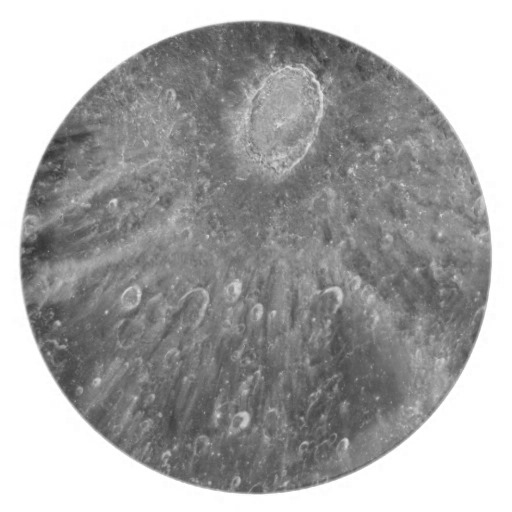 Lunar Impact Crater Tycho on Earth's Moon Party Plates from Zazzle.com