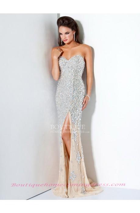 Sleeveless natural sweep train rhinestone 2015 prom dress