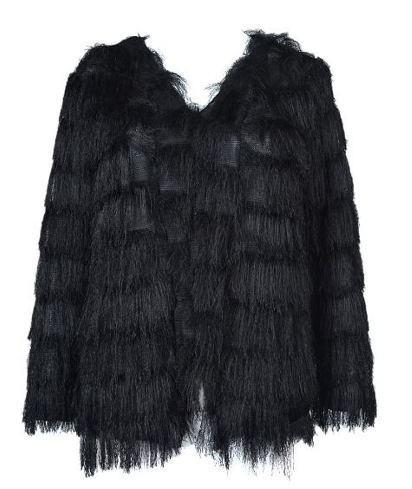 Black Layered Tassels Coat