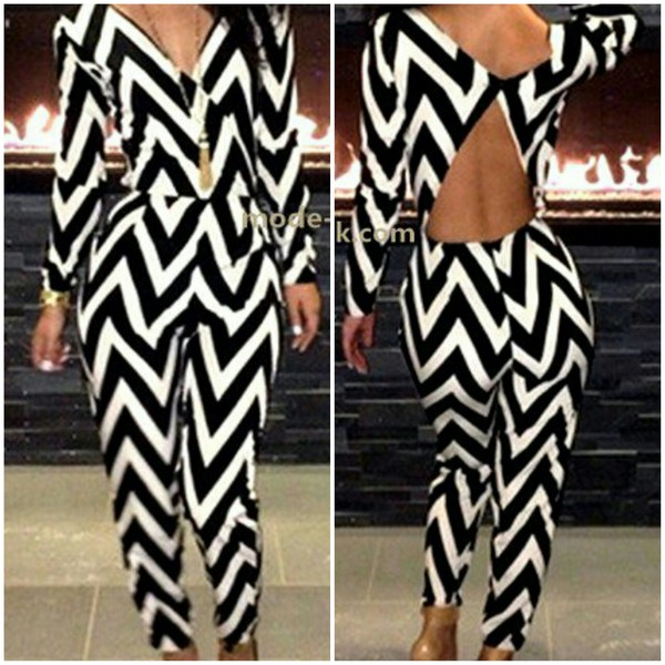pants black white combination zigzag blouse