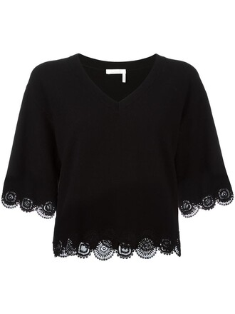 top knitted top women cotton black wool