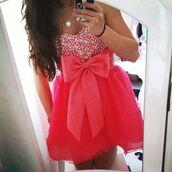 dress,pink,pink dress,pink prom dress,pink bow dress,sparkle,bow,prom dress,pink short bow dress,bow dress,pink short dress with bow,sparkly on top,mini dress,strapless pink dress,homecoming dress
