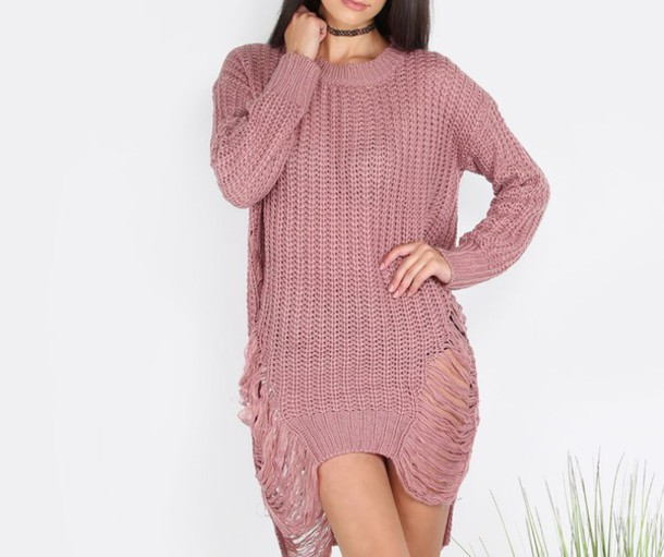 Dress: girl, girly, girly wishlist, pink, muave, sweater dress ...