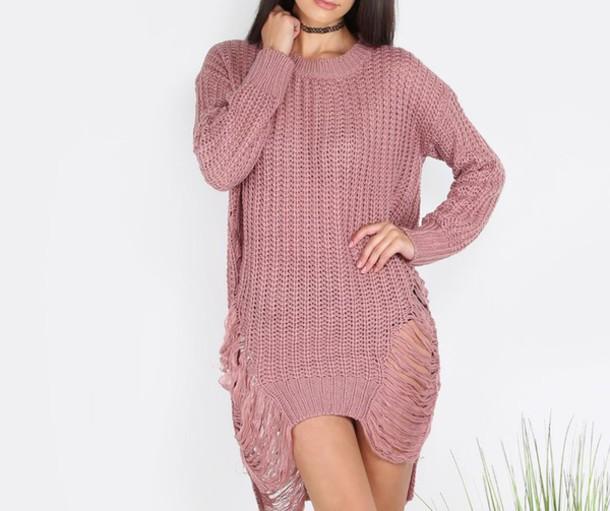 Ripped Sweater Dress