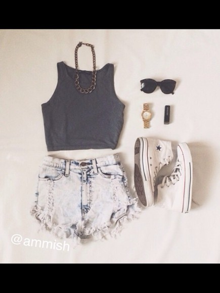 sunglasses shoes High waisted shorts top acid shorts make-up jewels