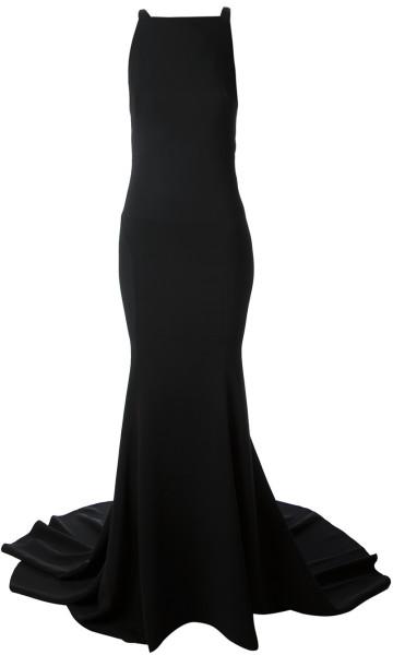 Roberto cavalli snake strap back gown in black