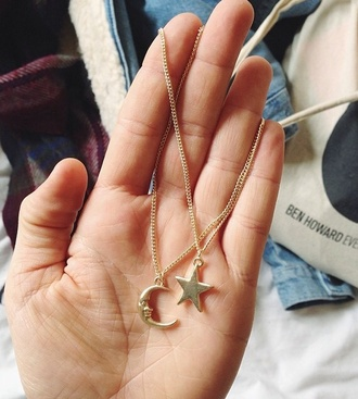 jewels gold jewelry moon necklace sun necklace 2015 trends spring break style jewerly necklace necklace moon stars star necklace perfect gift ideas cute couple moon and star necklace