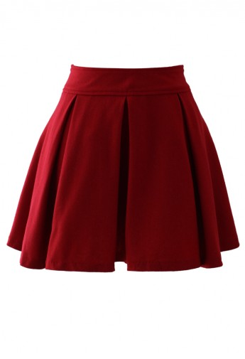 Waist Pleated Skater Skirt in Red - Retro, Indie and Unique Fashion