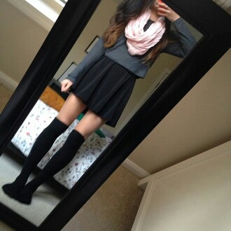 skirt top knitted sweater scarf black thigh high socks