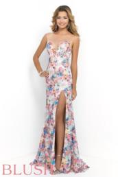 clothes,blue dress,multicolor prom dress,blush prom by alexia,slit dress,open back dresses,floral dress,floral prom dress,illusion dress