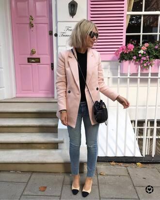 jacket tumblr blazer pink blazer fall outfits denim jeans blue jeans shoes pumps top black top bag black bag sunglasses