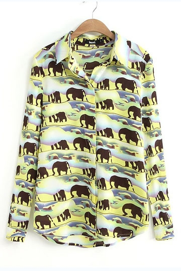 Cartoon Elephants Print Chiffon Shirt [SHWM00006]- US$ 15.99 - PersunMall.com