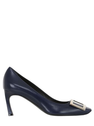 pumps leather navy shoes