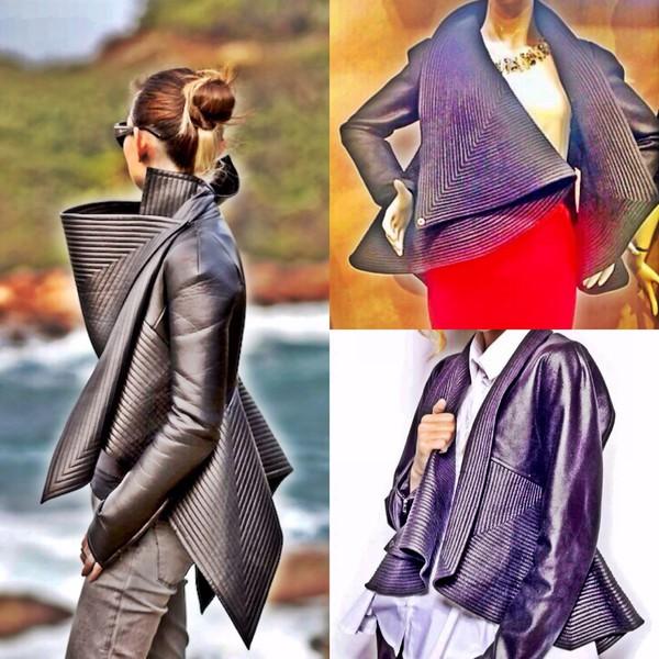 gareth pugh jacket winter coat black leather jacket coat