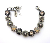 jewels,siggy jewelry,bracelets,jewelry,swarovski,grey,silver,metallic silver,metallic,bling,sparkle,ornate,victorian,flower bracelet,fancy,elegant,handmade,style,swag,trendy,detailed,charms,charm bracelet,ooak,etsy,diva,chic,fabulous
