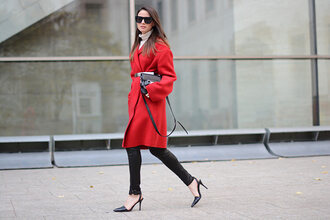 fashion vibe blogger sunglasses belt red coat skinny pants coat shoes pants bag sweater