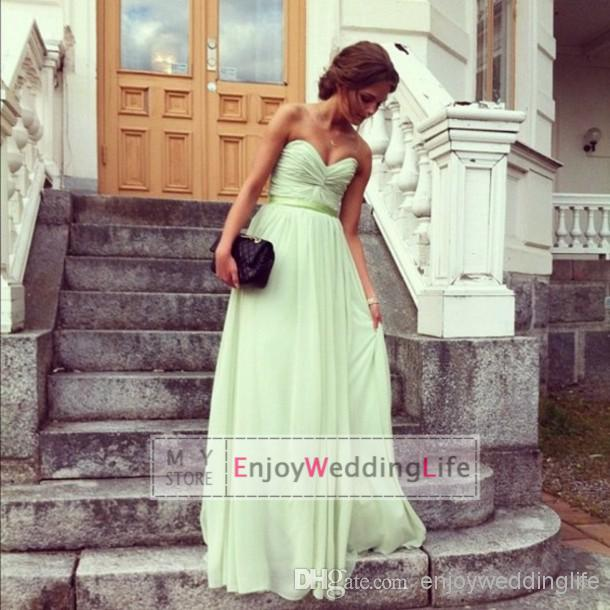 Buy 2014 sexy new sage sweetheart chiffon prom dresses ruffles floor length evening gowns cps016, $50.86