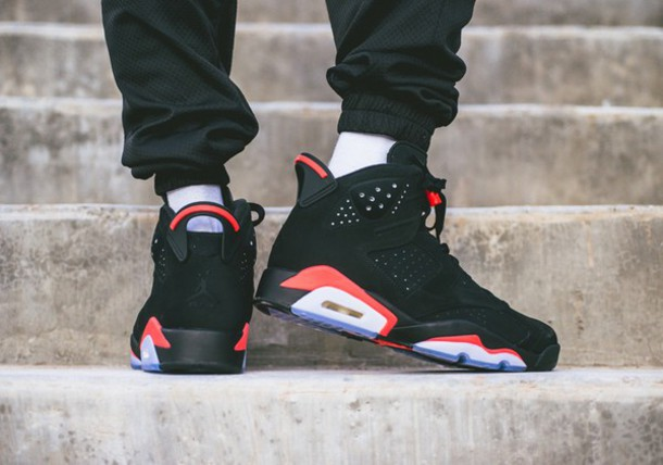 56ffd127736 shoes style fashion jordans nike air nike shoes 23 menswear trainers black  and red infrared 6s