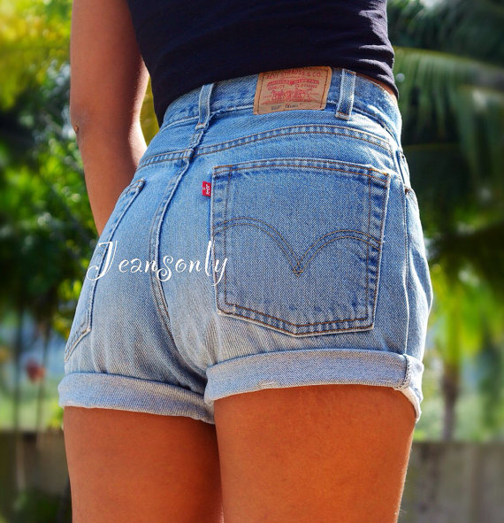 high waisted cuffed denim shorts rolled up by Jeansonly