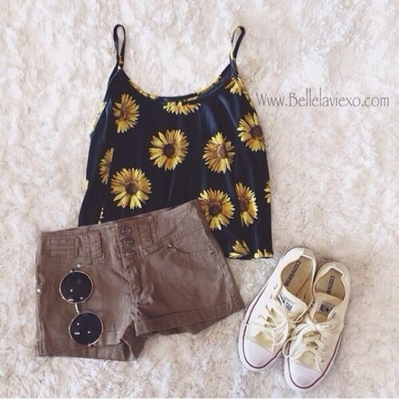 blouse tank top sunflower