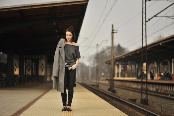 shiny sil blogger grey coat off the shoulder coat blouse bag jewels jeans shoes