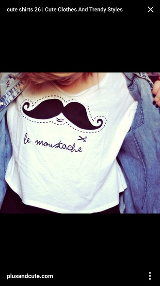shirt quote at bottom white t-shirt graphic tee moustache