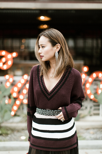 coat tumblr v neck burgundy burgundy sweater stripes striped sweater belt knit knitwear knitted sweater
