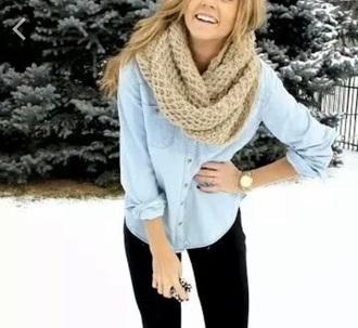 scarf leggings shirt denim top scraf winter outfits