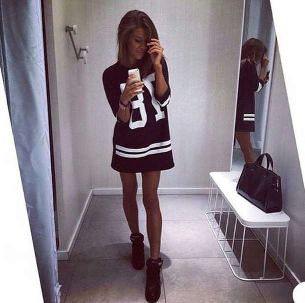 Dress t-shirt dress letters/numbers black all black everything quote on it hipster edgy ...