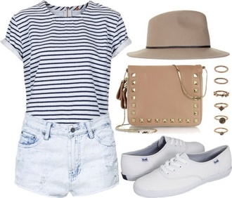 shirt striped shirt strip navy white cute girly vintage hipster look outfit idea ideas keds shoes brown tan studs casual spring fall outfits weather summe bag jewels mariniere top blouse hat striped sweater shorts