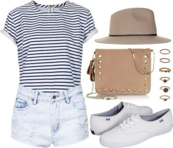 mariniere shirt striped shirt strip navy white cute girly vintage hipster look outfit outfits idea ideas keds shoes brown tan studs casual spring fall weather summe bag jewels