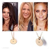 jewels,jewelry,celebrity style,gold necklace,initial necklace,fashion,etsy.com,girly,nicole richie,katie holmes
