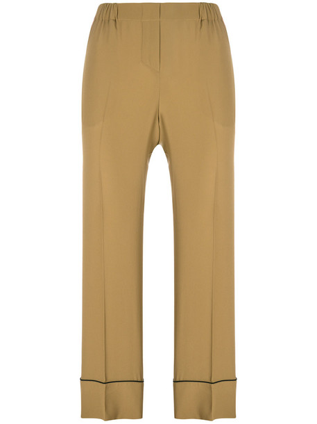 No21 cropped women silk brown pants
