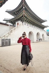 brown platform,blogger,top,skirt,sunglasses,bag,shoes,red sweater,leather skirt,midi skirt,pumps,high heel pumps