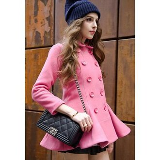pink coat cute fashion clothes jumpsuit women girl beautiful top classy popular warm warm coat beauty preppy cool noble and elegant winter jacket