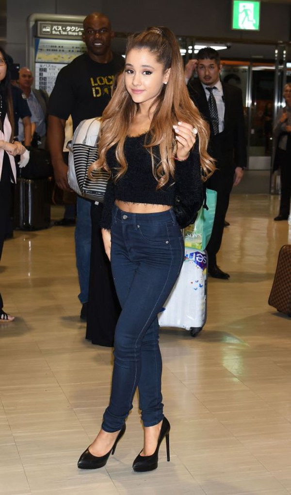 top crop tops black ariana grande