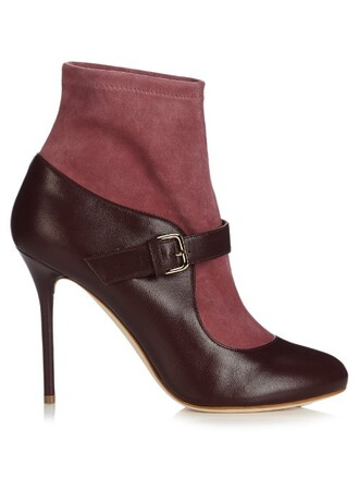 boots leather suede burgundy shoes